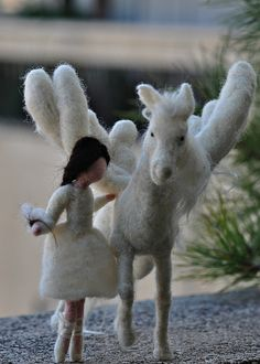 Needle felted pegasus and little ballerina-Waldorf inspired standing doll-soft sculpture by daria.lvovsky