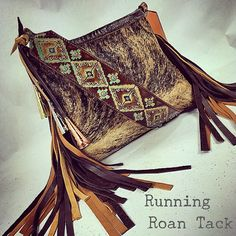 TEMPORARILY OUT OF STOCK! Light Brindle Cowhide Handbag with Aztec Print and Authentic Jingle Cones by Running Roan Tack