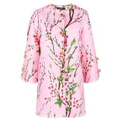 Floral Print Jacquad Coat in Pink (£51) ❤ liked on Polyvore featuring outerwear, coats, long sleeve coat, pink coat, floral coats, floral print coat and jacquard coat