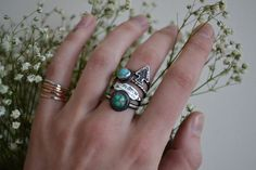 The Cave Stack Ring Set. with Candelaria by TheStrayArrow on Etsy