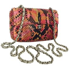 368e268e05 New Chanel Exotic Python Flap Bag W Dove Leather Woven Chain 6112102