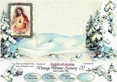Vintage Winter scenery 7  on Craftsuprint designed by Bodil Lundahl - Gatefold with overlayed, decoupaged gate doors - Now available for download!