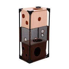 Pawhut Square Vertical Cat Activity Tower - Beige Coffee >>> Don't get left behind, see this great cat product : Cat tower Hidden Litter Boxes, Sheltered Housing, Cat Activity, Cat Condo, Bench Furniture, Cat Supplies, Cat Tree, Just For You, Tower
