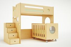 Featuring a crib below a lofted bed, this design is perfect for two siblings with an age gap of five or more years. The unit has a very long lifespan, as the crib converts easily into a toddler bed and can later be replaced by another twin bed. The top bunk is equipped with all of the safety features of our Marino bunk bed, including enclosed rails, and is sturdy enough to hold both a child and parent. A detachable hanging tray (ordered separately) functions as a nightstand wherever ...