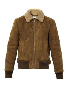 WOW...If only I had several thousand dollars laying around. Suede and shearling bomber jacket | Saint Laurent