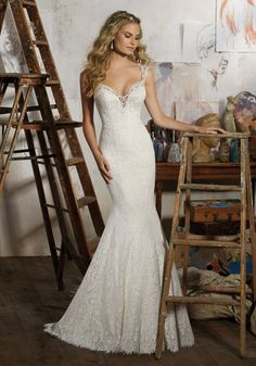 View Dress - Mori Lee Bridal SPRING 2017 Collection: 8104 - Macy - Allover Vintage Lace with Venice Lace Trim | MoriLee Bridal
