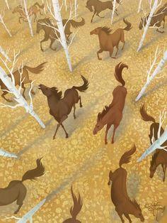 """Autumn Run"" by Melissa Manwill on #INPRNT - #illustration #print #poster #art"