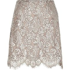 River Island Silver metallic lace mini skirt (€58) ❤ liked on Polyvore featuring skirts, mini skirts, silver, women, scalloped mini skirt, scalloped lace mini skirt, floral lace skirt, floral print mini skirt and floral mini skirt