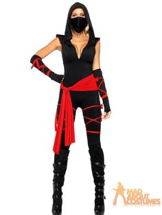 Adult Deadly Ninja Costume Ladies Martial Arts Fancy Dress Outfit by Leg Avenue