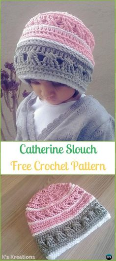 Crochet Catherine Slouch Beanie Hat Free Pattern -Crochet Slouchy Beanie Hat Free Patterns