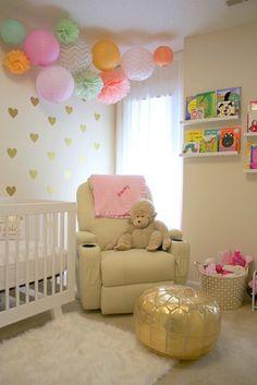 Project Nursery - Modern Girls Nursery with Gold Heart Decals - Project Nursery