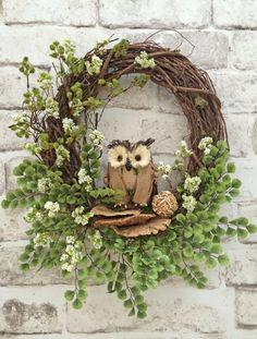 Owl Summer Wreath for Door, Burlap Owl Wreath, Front Door Wreath, Spring Wreath, Outdoor Wreath, Grapevine Wreath,Silk Floral Wreath,Wedding