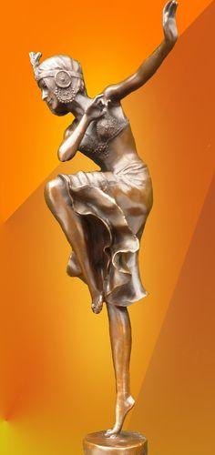 "Art Deco Chiparus "" Hindu Dancer "" Bronze Figurine"