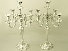 Pair of Dutch Silver Five Light Candelabra - Art Deco Style - Vintage Circa 1940 SKU: A2057 Price GBP £6,950.00 #dutchsilver #artdeco #vintage #candelabra