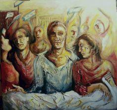 """""""Il corteo"""", olio su tela , cm 100 x 100"""
