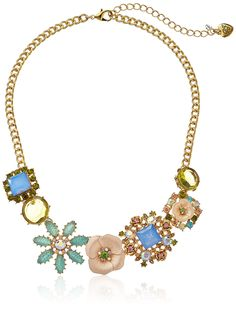 "Betsey Johnson ""Queen Bee"" Mixed Flower Necklace, 16''+3'' Extender"