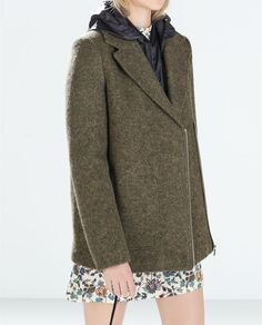 Coat with detachable fur collar from Zara