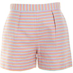 Pre-owned Women's Hutch Multi/Stripe Shorts (£23) ❤ liked on Polyvore featuring shorts, short, stripe shorts, short shorts y striped shorts