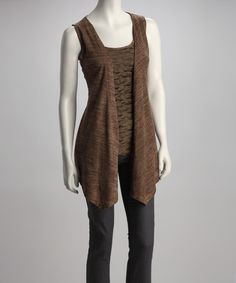 Take a look at this Brown Lace Layered Sleeveless Top by Ryu & A'reve on @zulily today!