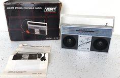VTG Verit Stereo Radio Mini Portable Telescopic Antenna Battery Powered HP Jack #Verit