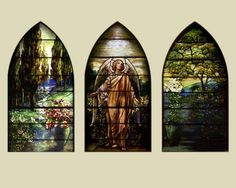 """Tiffany Studios   """"Angel of the Resurrection,"""" memorial window for Eleanor Garig Connell and Elvira Dougherty Garig, dedicated on Easter Sunday, 1910   Leaded glass   St. James Episcopal Church, Baton Rouge, LA"""