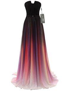 JAEDEN Gradient Chiffon Formal Evening Dresses Long Party Prom Gown Black US16W