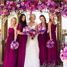 Love these deep pink jewel toned dresses. The colors are so dramatic but not harsh. Love the color scheme! #wedding #bridesmaids #jeweltone