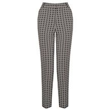 Oasis Woven Geometric Trousers, Black and White
