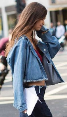 Denim on denim is cool when done well. I like everything about this little coat. It's cropped the bottom edges are fray d and it has a hood. Nice lighter denim color too.