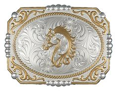 Montana Silversmiths Two-tone Cowboy Cameo Buckle w- Filigree Horse Figure