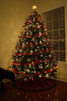 Christmas tree with ribbon garland