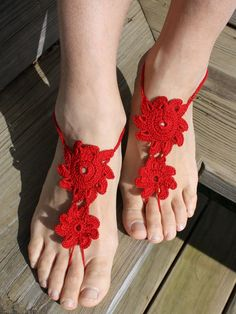 Shop Red Floral Crochet Toe Ring Barefoot Sandals from choies.com .Free shipping Worldwide.$6.29