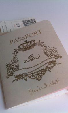 Paris Passport Invitation for bridal shower Parisian Party, Parisian Wedding, French Wedding, Wedding Stationery, Wedding Invitations, Paris Bridal Shower, Passport Invitations, Prom Themes, Prom Decor