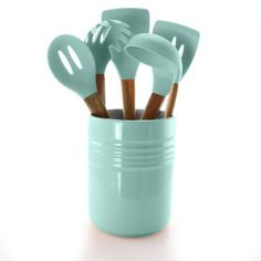 Gibson Home Plaza Cafe Ceramic Crock in Mint Kitchen Tools (Set of - The Home Depot - Silverware and Kitchen Tools - Ceremic Home Depot, Mint Kitchen, Gibson Home, Kitchen Utensil Set, Mint Color, Mint Green, Kitchen Tools, Kitchen Decor, Kitchen Gadgets
