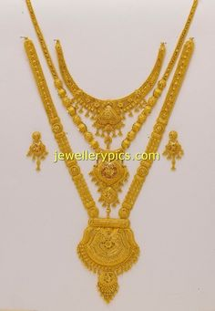 Latest Indian Jewellery designs and catalogues in gold diamond and precious stones Gold Jewelry Simple, Gold Wedding Jewelry, Bridal Jewellery, Jewellery Rings, Gold Haram Designs, Schmuck Design, Gold Fashion, Jewellery Designs, Latest Jewellery