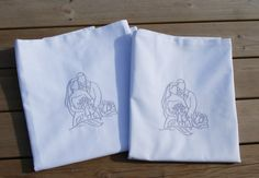 Wedding couple embroidered pillow case, 2pcs. Wedding gift, pillow case set