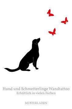 Hund mit Schmetterlingen Wandtattoo. Die Schmetterlinge sind frei positionierbar rund um den Hund. Dies und noch vielen andere Tiermotive für die Wand gibts im Sop Movie Posters, Home Decor, Animal Themes, Pet Dogs, Flowers, Animales, Patterns, Decoration Home, Room Decor