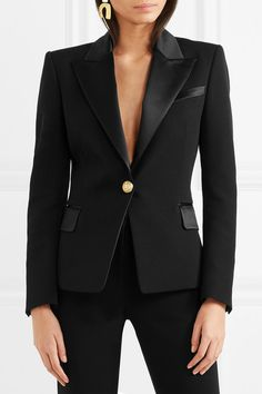 Inspired by classic tuxedos, Balmain's wool #blazer in black has lustrous satin lapels, a neat welt pocket and signature #gold medallion buttons | balmain blazer | balmain blazer outfits | balmain blazer street style | balmain blazer black | balmain blazer casual | Balmain Blazer | #ad