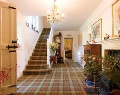 check carpet on stairs ideas Victorian House Interiors, Carpet Stairs, Oak Trim, Stairway Carpet, Living Room Carpet, Scottish Interiors, Country Interior, Tartan Carpet, Carpet Staircase