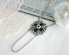 Dainty romantic pendant for every day with black crystals #blackpendant #blackjewelry #blackwedding