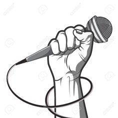 Illustration of hand holding a microphone in a fist. illustration in black and white style. vector art, clipart and stock vectors. Microphone Drawing, Old Microphone, Microphone Tattoo, Black And White Style, Black And White Drawing, Black Art, Arte Do Hip Hop, Hip Hop Art, Music Tattoo Designs