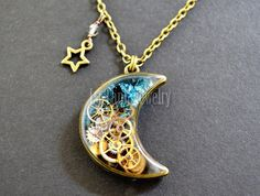 Moon And Star Resin Pendant Steampunk Gears Mechanical Necklace Swarovski  Butterfly Crescent Blue Glass Watch Parts , Transparent Necklace