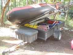 Inflatable Kayak Hacks Need some Ideas for my own camping/utility trailer - Expedition Portal Tilt Trailer, Kayak Trailer, Trailer Diy, Trailer Build, Atv Trailers, Adventure Trailers, Camping Trailers, Boat Storage, Camping Storage