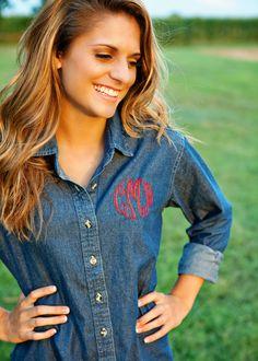 Monogrammed Denim Shirt Ladies Long Sleeve - Memento - Personalized Monogrammed Gifts