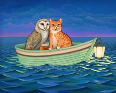 The Owl and the Pussycat  signed print by toadbriar on Etsy, $22.00