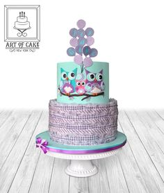 Owl Family Baby Shower Cake by ArtofCakeNY