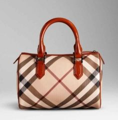 Burberry Medium Nova Check Bowling Bag Tangerine 1 630 Myr