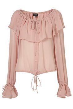 Dark pink pleated collar blouse