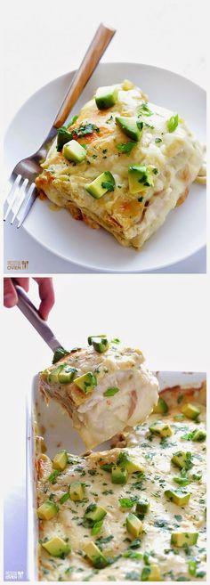 White Chicken Enchilada Casserole ~ Easy Kitchen for Women Chicken Enchilada Casserole, Enchilada Recipes, Mexican Food Recipes, Great Recipes, Favorite Recipes, Costco Rotisserie Chicken, Dinner Ideas, Dinner Recipes, White Chicken