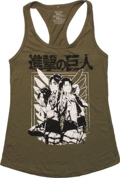 Attack on Titan Posing Racer Tank Juniors T-Shirt